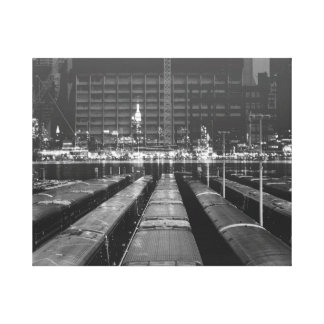 double exposure NYC skyline and train depot Canvas Print