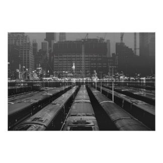 double exposure NYC skyline and train depot Poster