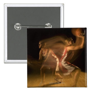 Double exposure of woman playing basketball button