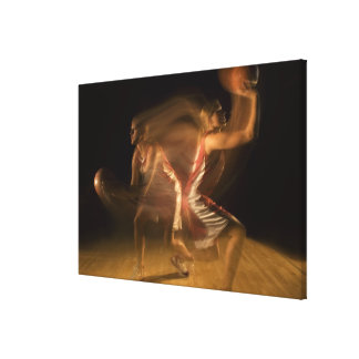 Double exposure of woman playing basketball gallery wrapped canvas