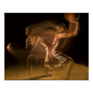 Double exposure of woman playing basketball poster