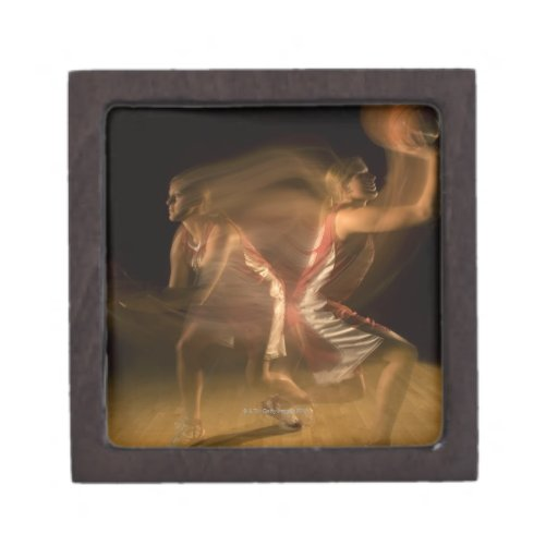 Double exposure of woman playing basketball premium gift boxes