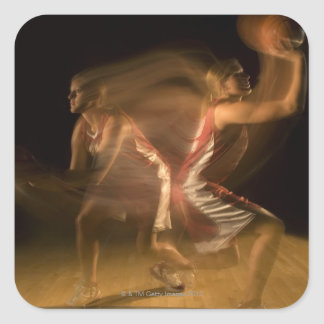 Double exposure of woman playing basketball square sticker