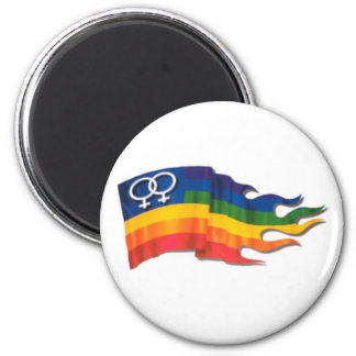 Double Female Pride Flag 2 Inch Round Magnet