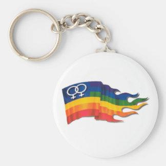 Double Female Pride Flag Basic Round Button Keychain