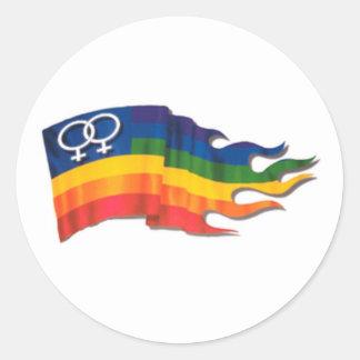 Double Female Pride Flag Classic Round Sticker
