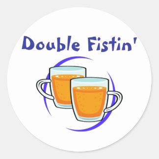 Double Fistin' Round Stickers