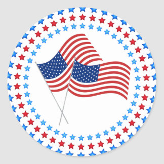 Double Flag STar Circles Sticker