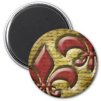 Double Fleur de Lis 2 Inch Round Magnet