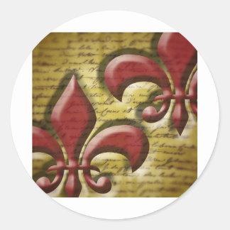 Double Fleur de Lis Classic Round Sticker