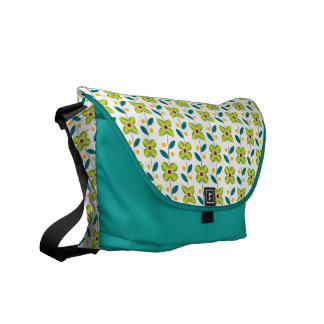 Double Flower Pattern Green Messenger Bag
