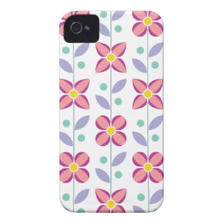 Double Flower Pattern Pink iPhone 4 Case-Mate Case