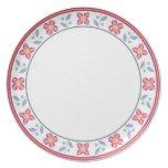 Double Flower Pattern Pink Melamine Plate