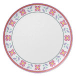 Double Flower Pattern Pink Party Plates