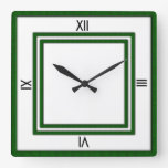 Double Frame of Green 4 Black Numerals Wallclock