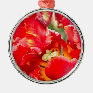 Double Frilly Tulip Round Metal Christmas Ornament