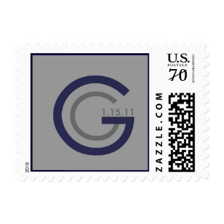 DOUBLE G GREY DATE NAVY BORDER POSTAGE STAMP