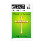 Double Gold Heart & Cross Stamp