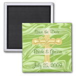 Double Gold Hearts and Cross Magnet