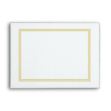 Beach Themed Double Gold Metallic Border on Bubbly White Envelope