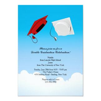 Double Graduation Hat Toss 3 Vertical Card