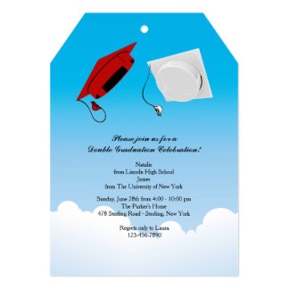 Double Graduation Hat Toss 3 Vertical Card