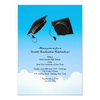 Double Graduation Hat Toss Vertical Black Card