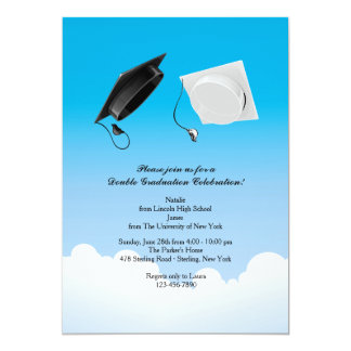 Double Graduation Hat Toss Vertical Card