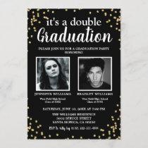Double Graduation Two Photo Graduates Invitation