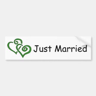 Double Green Hearts Just Married Bumper Sticker
