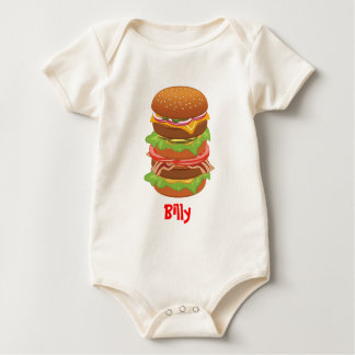 Double hamburger with cheese and bacon baby bodysuit