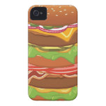 Double hamburger with cheese and bacon iPhone 4 Case-Mate case