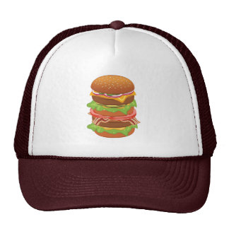 Double hamburger with cheese and bacon trucker hats