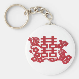 Double happiness Birds Basic Round Button Keychain