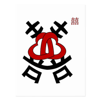 Double happiness. Chinese character 囍 (xi) Postcard