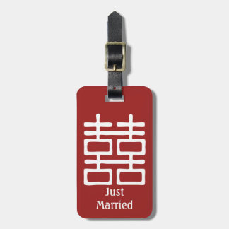 Double Happiness Chinese Just Married Wedding Luggage Tag