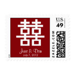 Double Happiness Chinese Red White Wedding Stamp