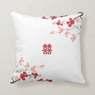 Double Happiness Chinese Wedding Cherry Blossoms Throw Pillow
