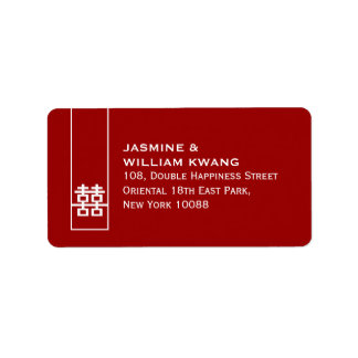 Double Happiness Chinese Wedding Classic Symbol Address Label