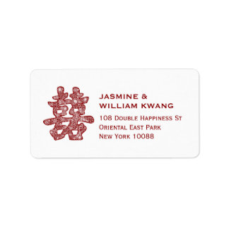 Double Happiness Chinese Wedding Floral Papercut Label