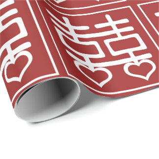Double Happiness Chinese Wedding Heart Detail V1 Wrapping Paper