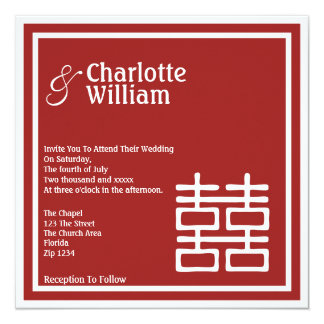 """Double Happiness Chinese Wedding 5.25"""" Square Invitation Card"""