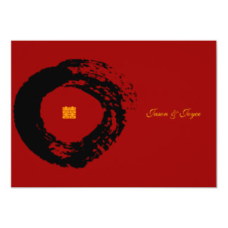 """double happiness Chinese wedding RSVP invitations 5"""" X 7"""" Invitation Card"""