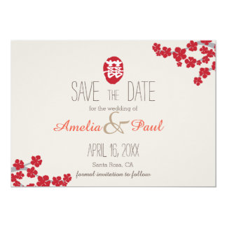"""Double Happiness Chinese Wedding - Save the Date 5"""" X 7"""" Invitation Card"""
