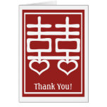 Double Happiness Chinese Wedding Thank You Stationery Note Card