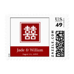 Double Happiness Chinese Wedding TQ / RSVP Postage Postage Stamp