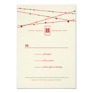 Double Happiness Fairy Lights Chinese Wedding RSVP 3.5x5 Paper Invitation Card