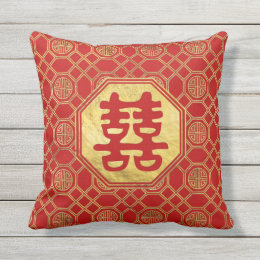 Double Happiness Feng Shui Symbol Outdoor Pillow