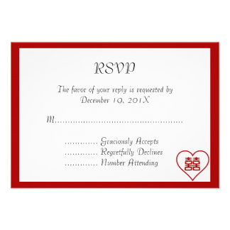 Double Happiness • Heart  • Bold Red Invite