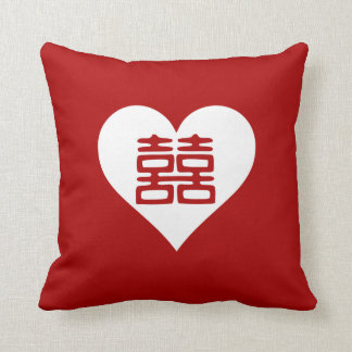 Double Happiness • Heart • Bold Red Pillows